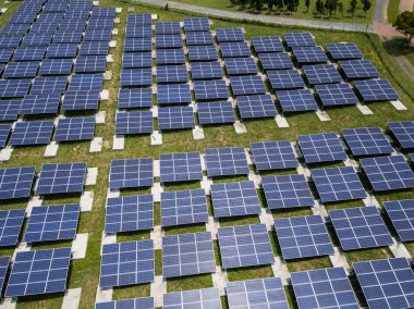 Top view of solar power panels