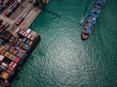 Top view over container terminal in Hong Kong
