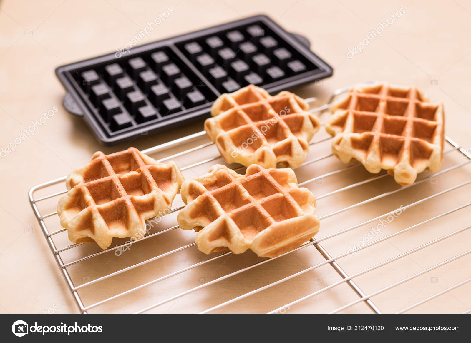 Homemade Belgian Waffles Home — Stock