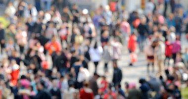 Blur of people walk in the street stock vector