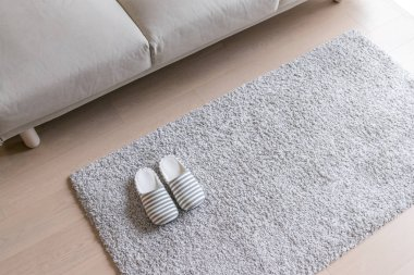 Beige Slippers on carpet on the floor at home