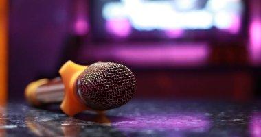Karaoke microphone in room close up