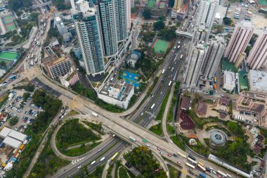 Diamond Hill, Hong Kong - 11 April, 2019: Top view of Hong Kong in kowloon side