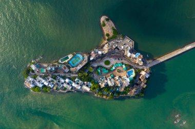 Tuen Mun, Hong Kong - 16 May, 2019: Top view of Hong Kong castle peak bay stock vector