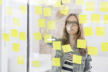 Businesswoman analyzing adhesive notes stuck on glass wall