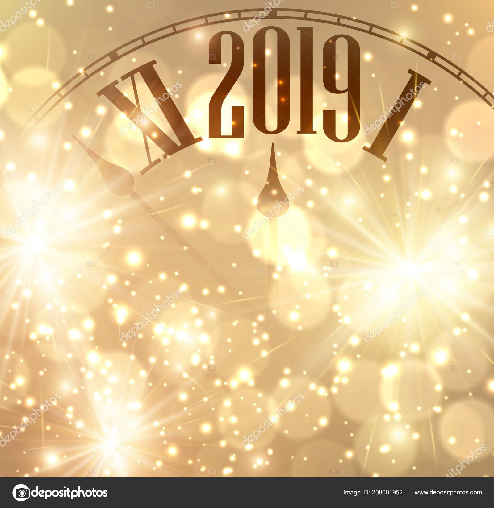 golden shining 2019 new year background clock vector illustration stock vector