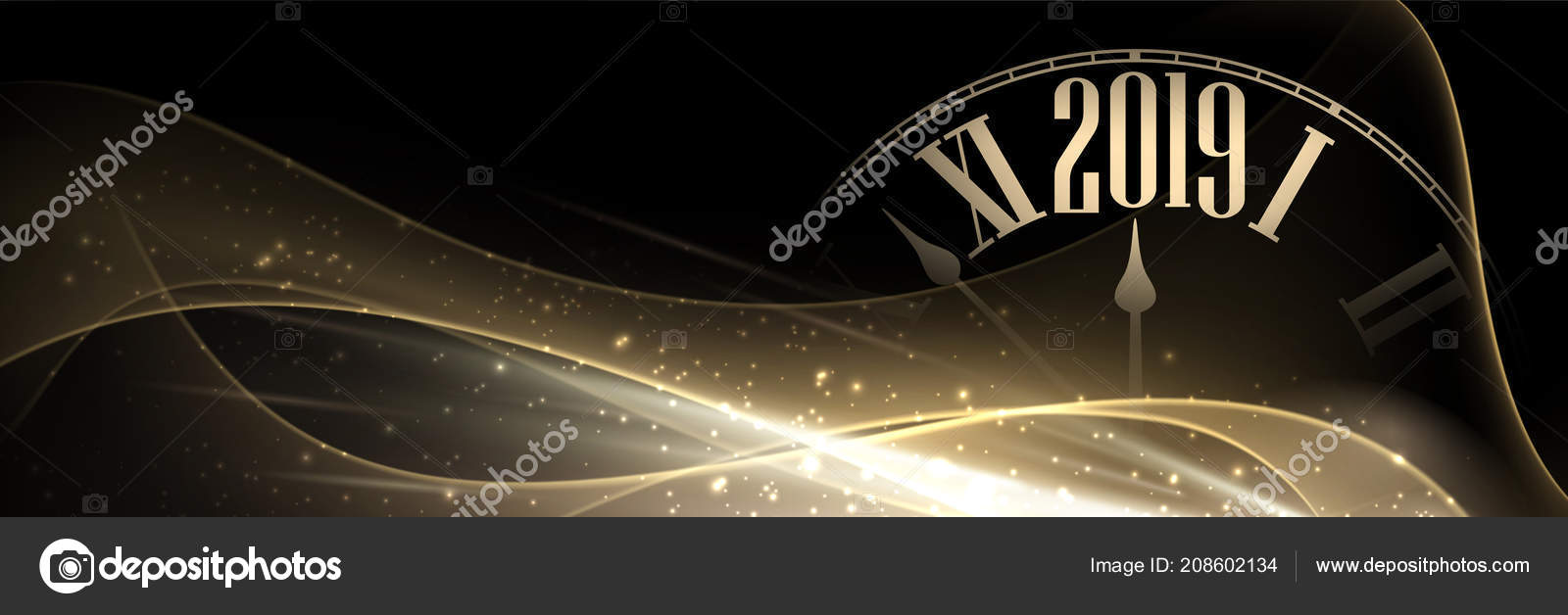 black and gold shiny 2019 new year banner with blurred clock beautiful christmas template vector illustration vector by maxborovkov