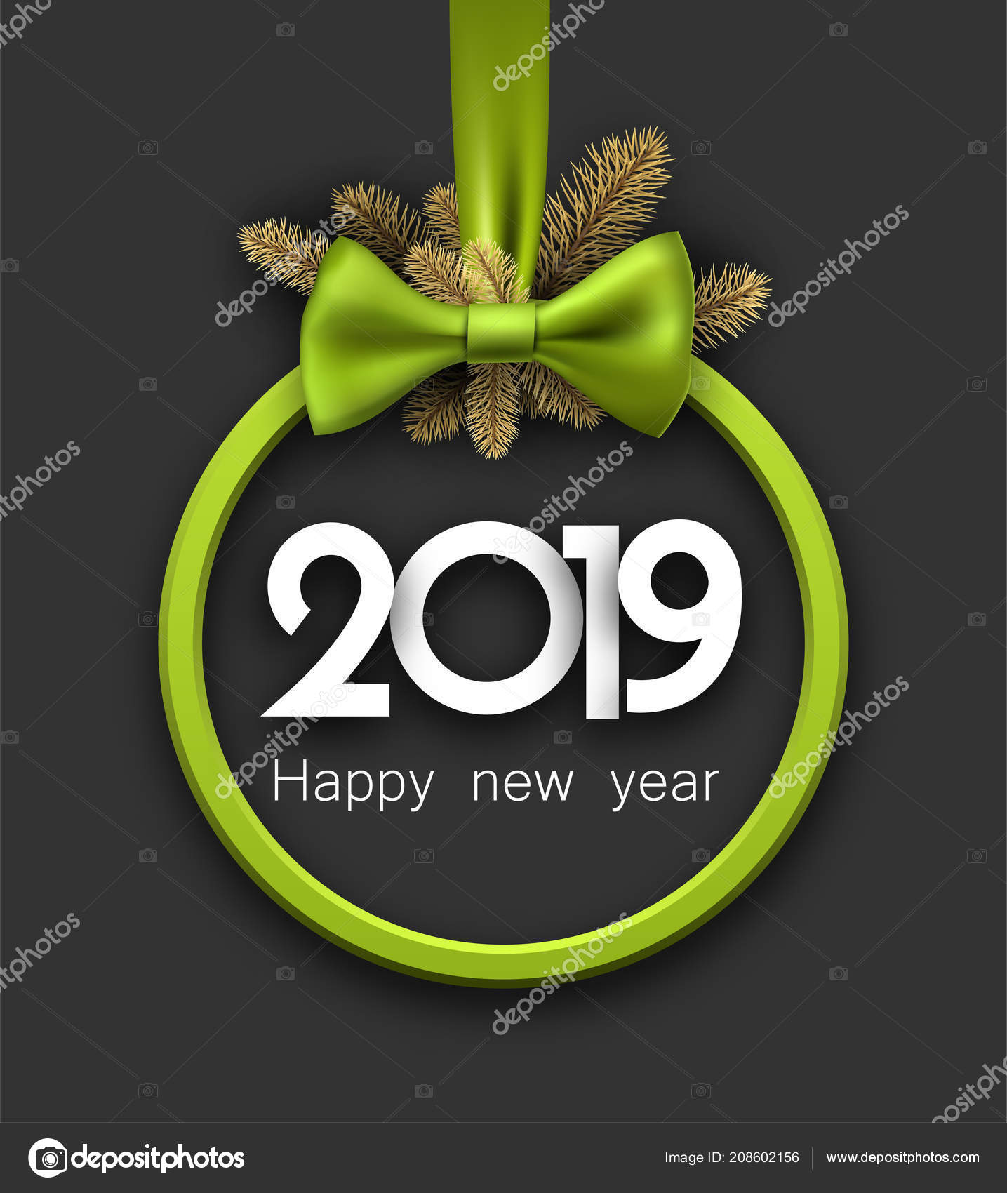 grey 2019 happy new year background green frame fir branches stock vector