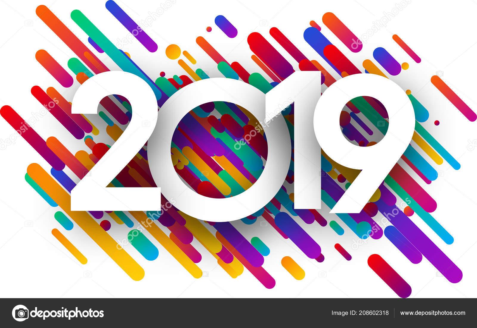 Beyaz Arka Plan üzerinde Renkli Boya Darbeleri Ile 2019 Yeni Stok