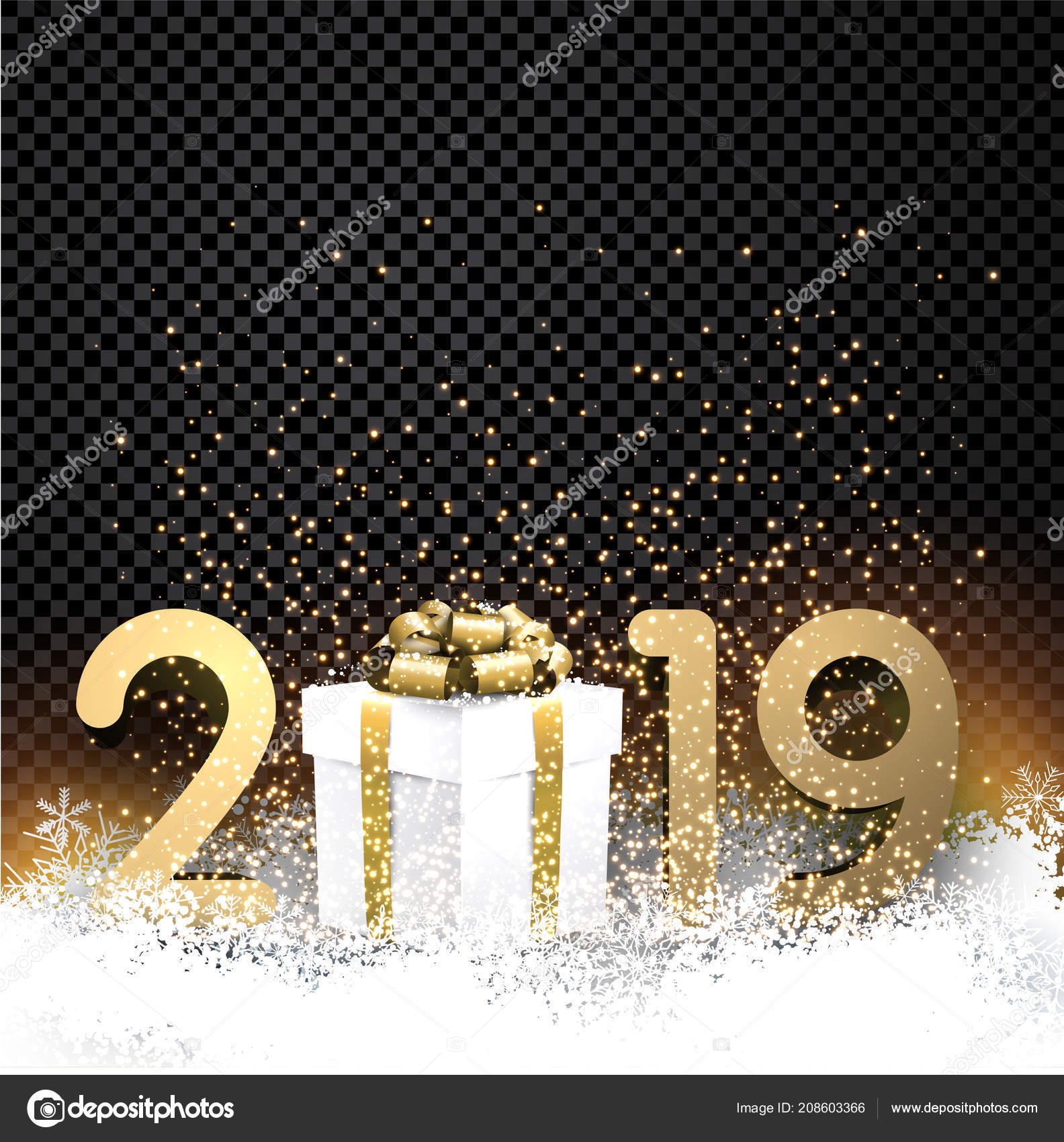 black transparent shiny 2019 new year background gold figures gift stock vector