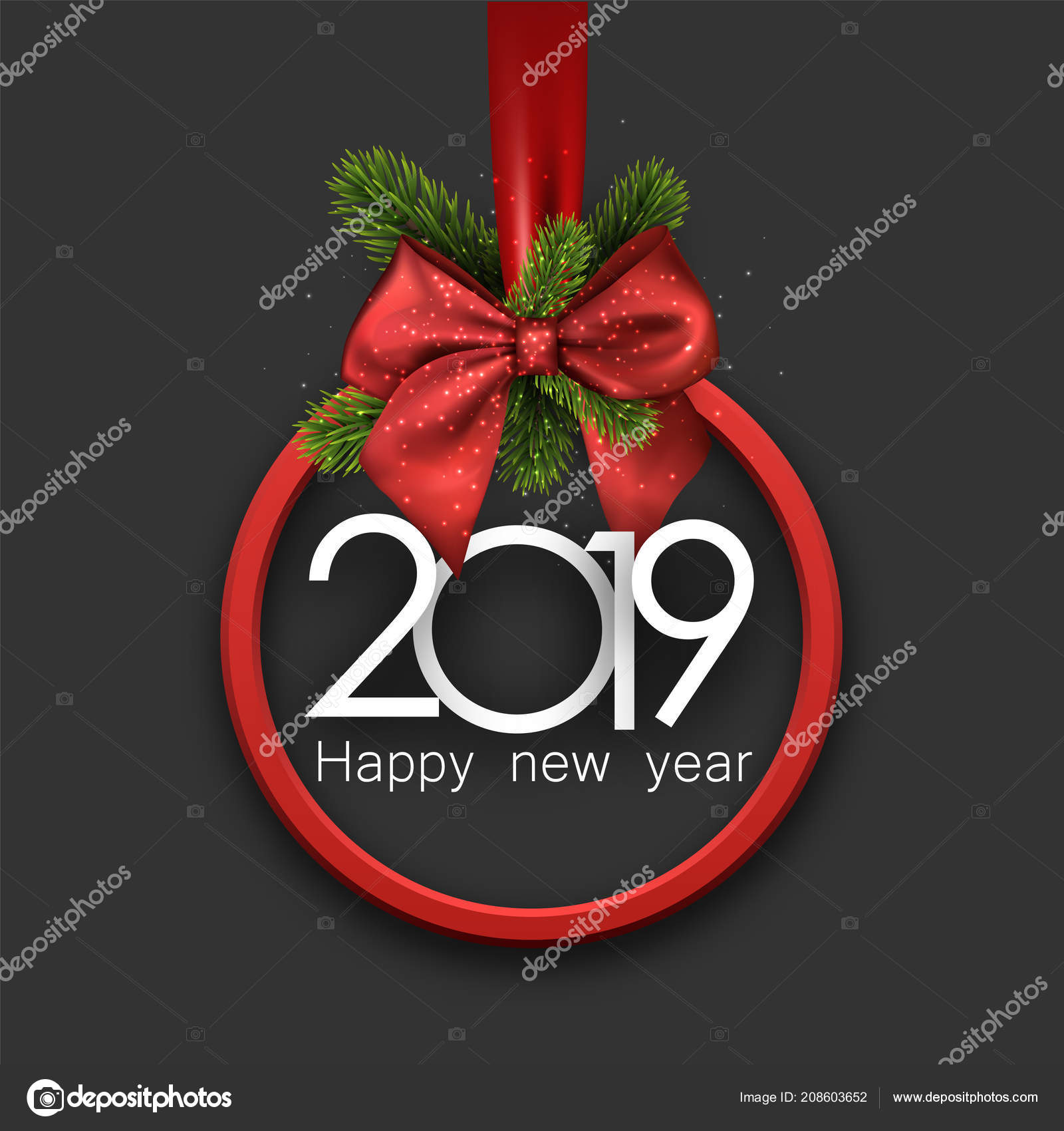 grey 2019 happy new year background red frame fir branches stock vector