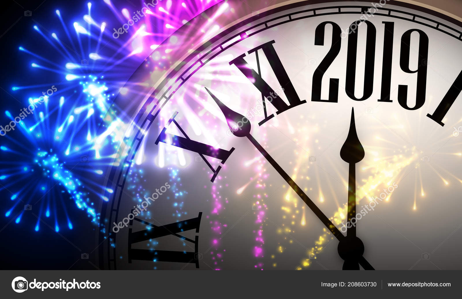 shiny 2019 new year background clock colorful fireworks vector illustration stock vector