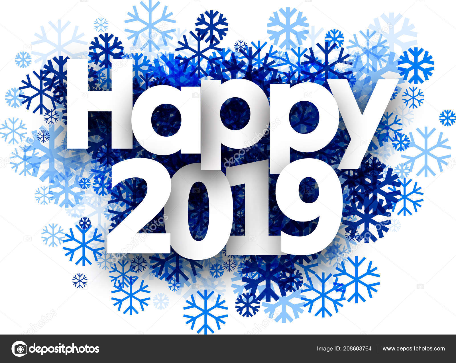 Happy 2019 >> Happy 2019 Winter Sign Blue Beautiful Snowflakes White Background