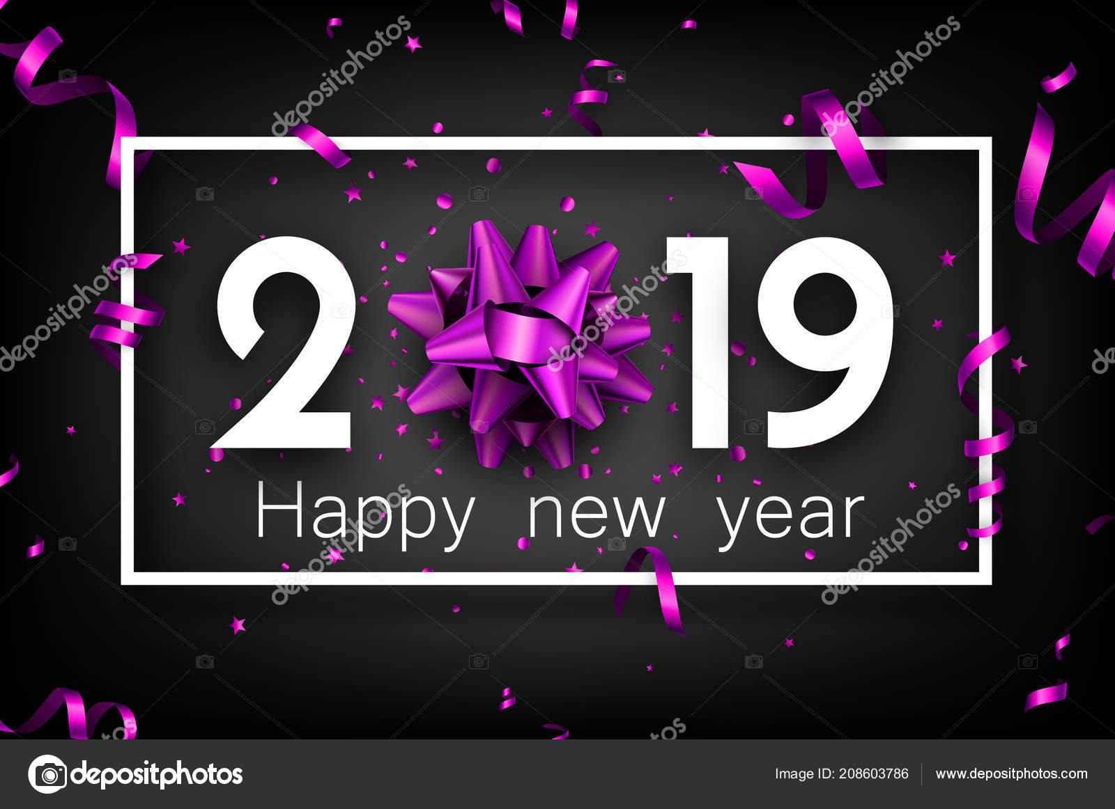 black 2019 happy new year background white frame beautiful purple stock vector