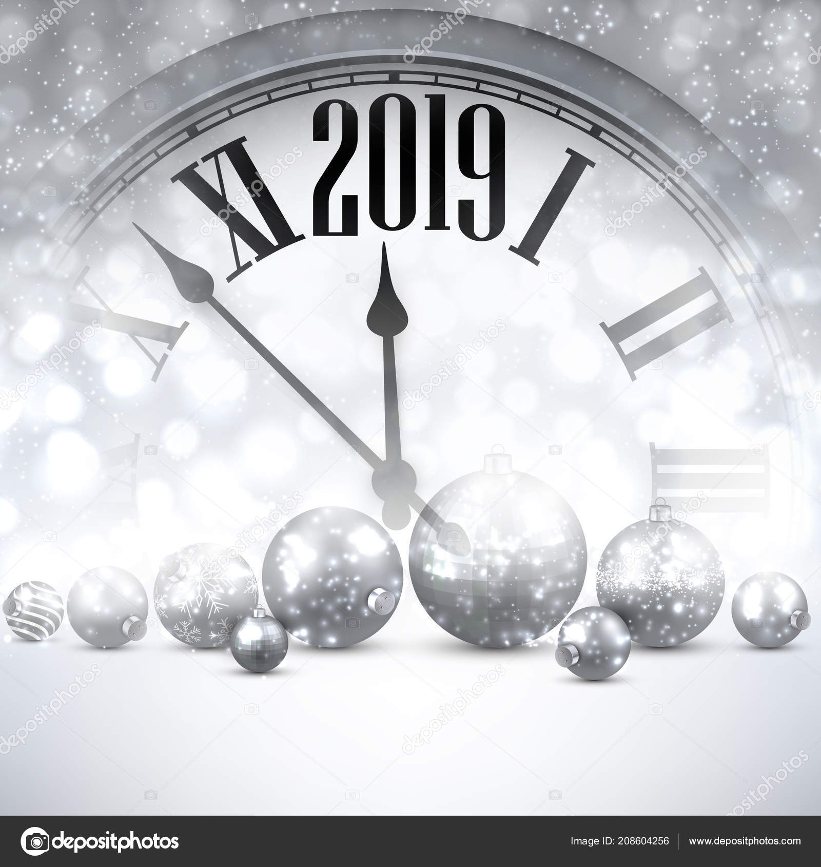 grey shiny 2019 new year background clock silver christmas balls stock vector