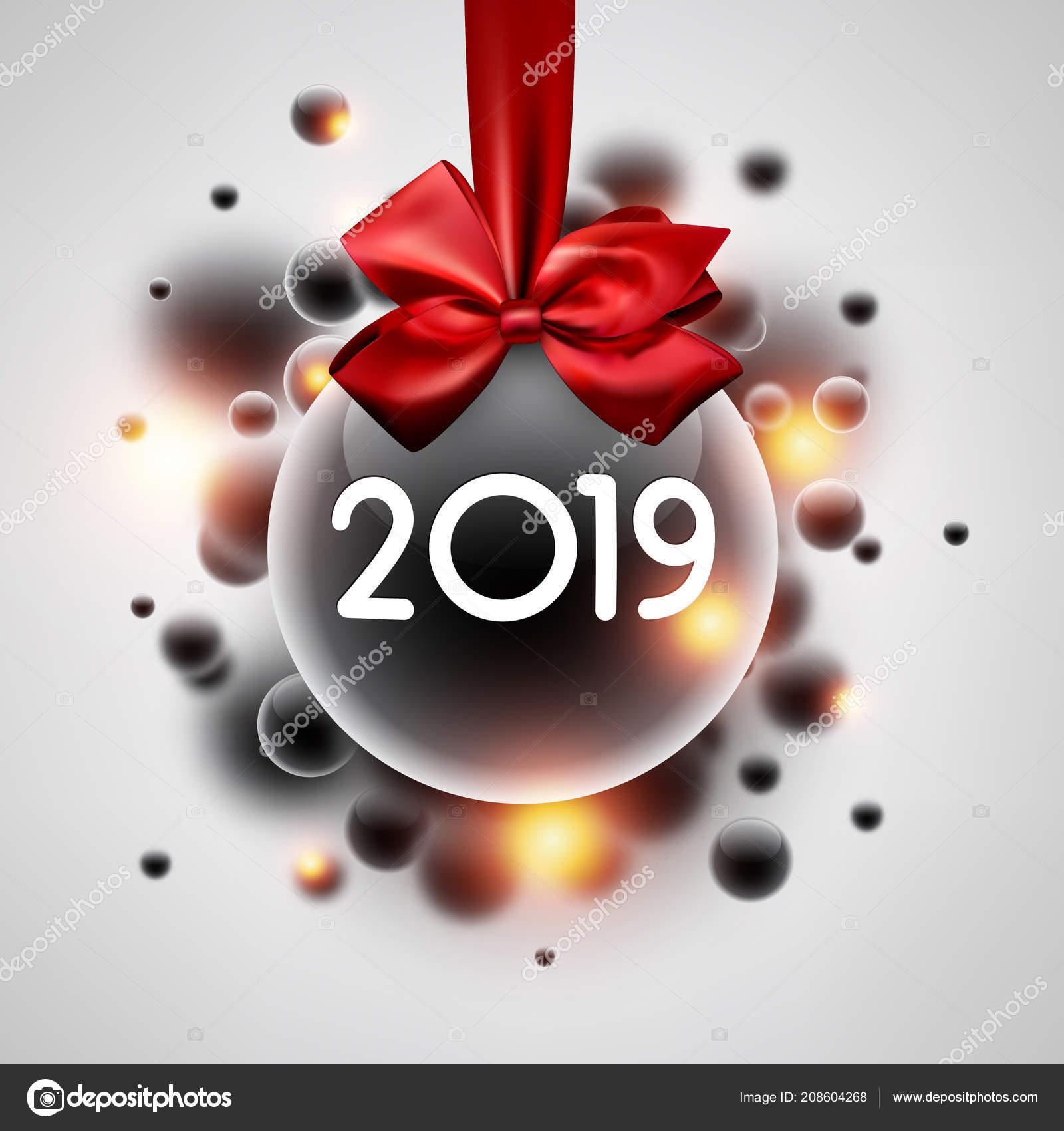 white shiny 2019 new year background transparent christmas ball red stock vector