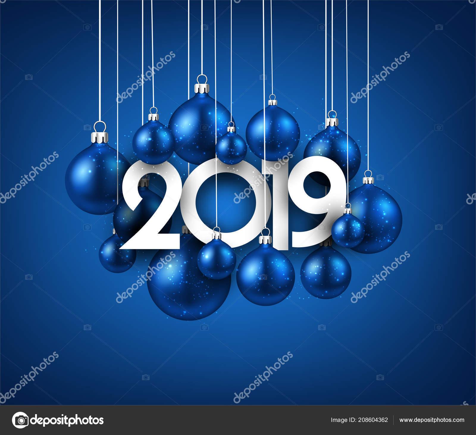 Azul 2019 Año Nuevo Fondo Con Bolas Navidad Fiesta