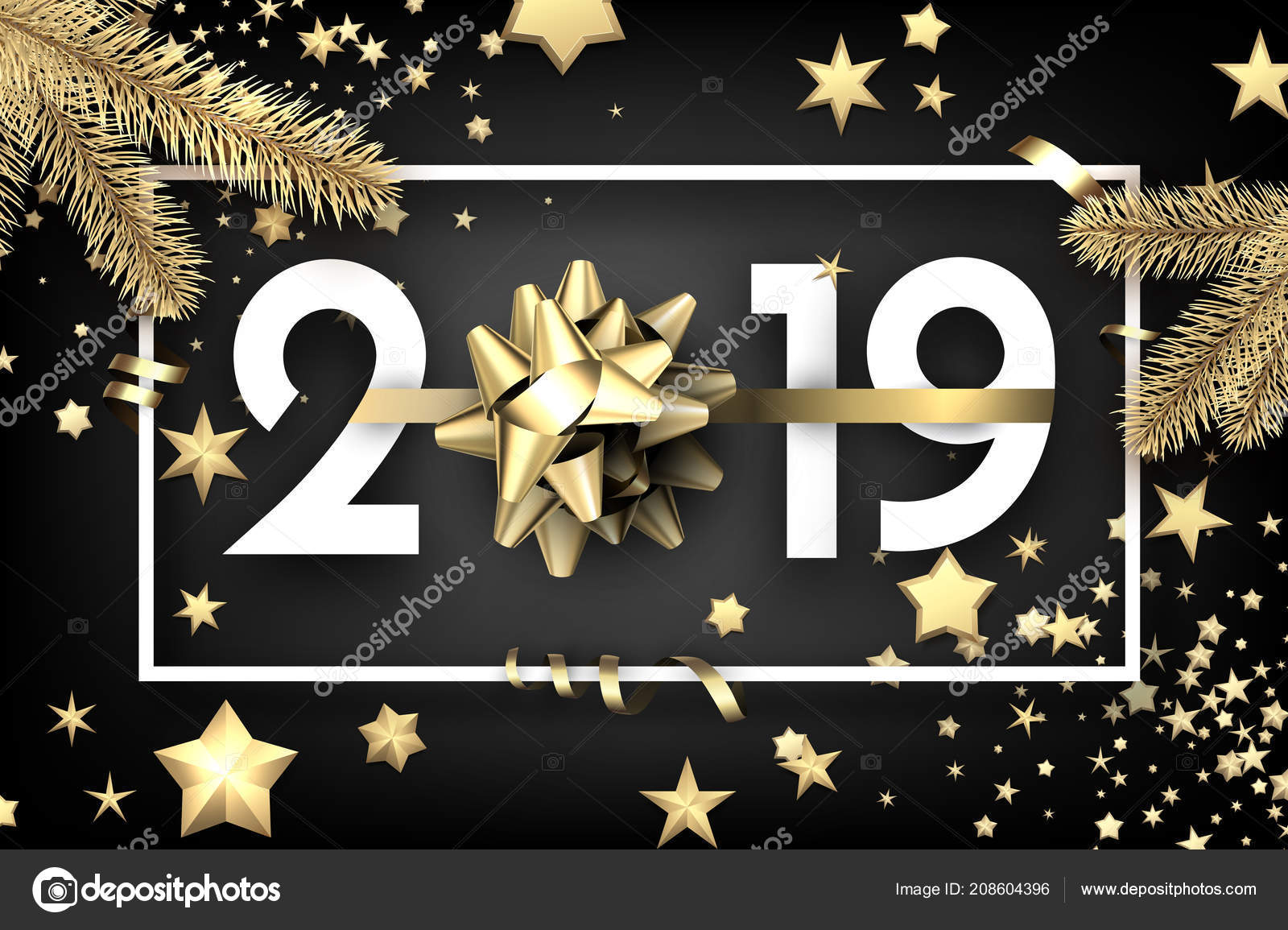 black 2019 happy new year background white frame beautiful golden stock vector