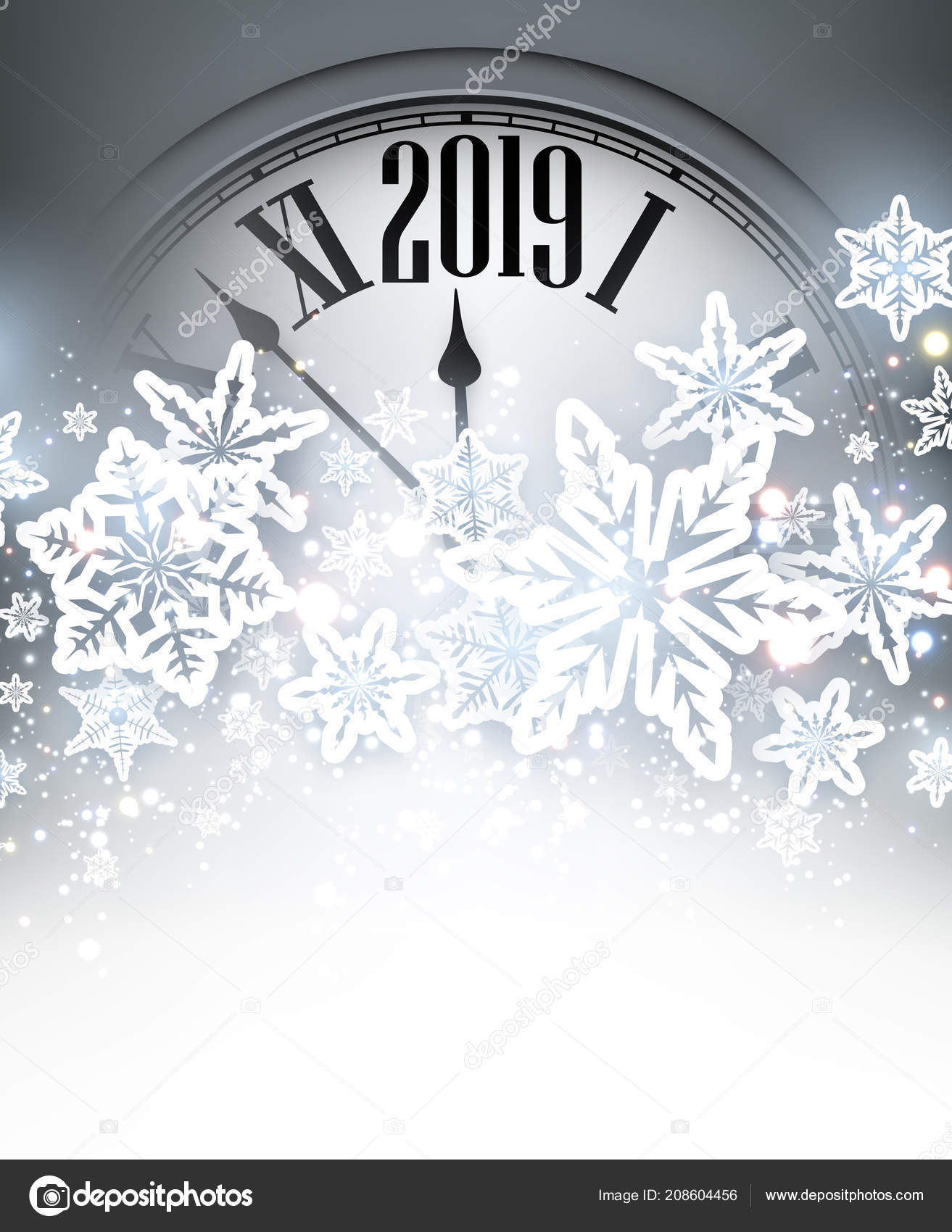 grey shiny 2019 new year background silver clock snowflakes beautiful stock vector