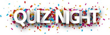 Quiz night banner with colorful paper confetti isolated on white background