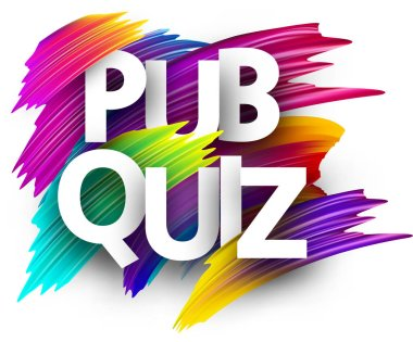 Pub quiz signs, colorful brush design isolated on white background
