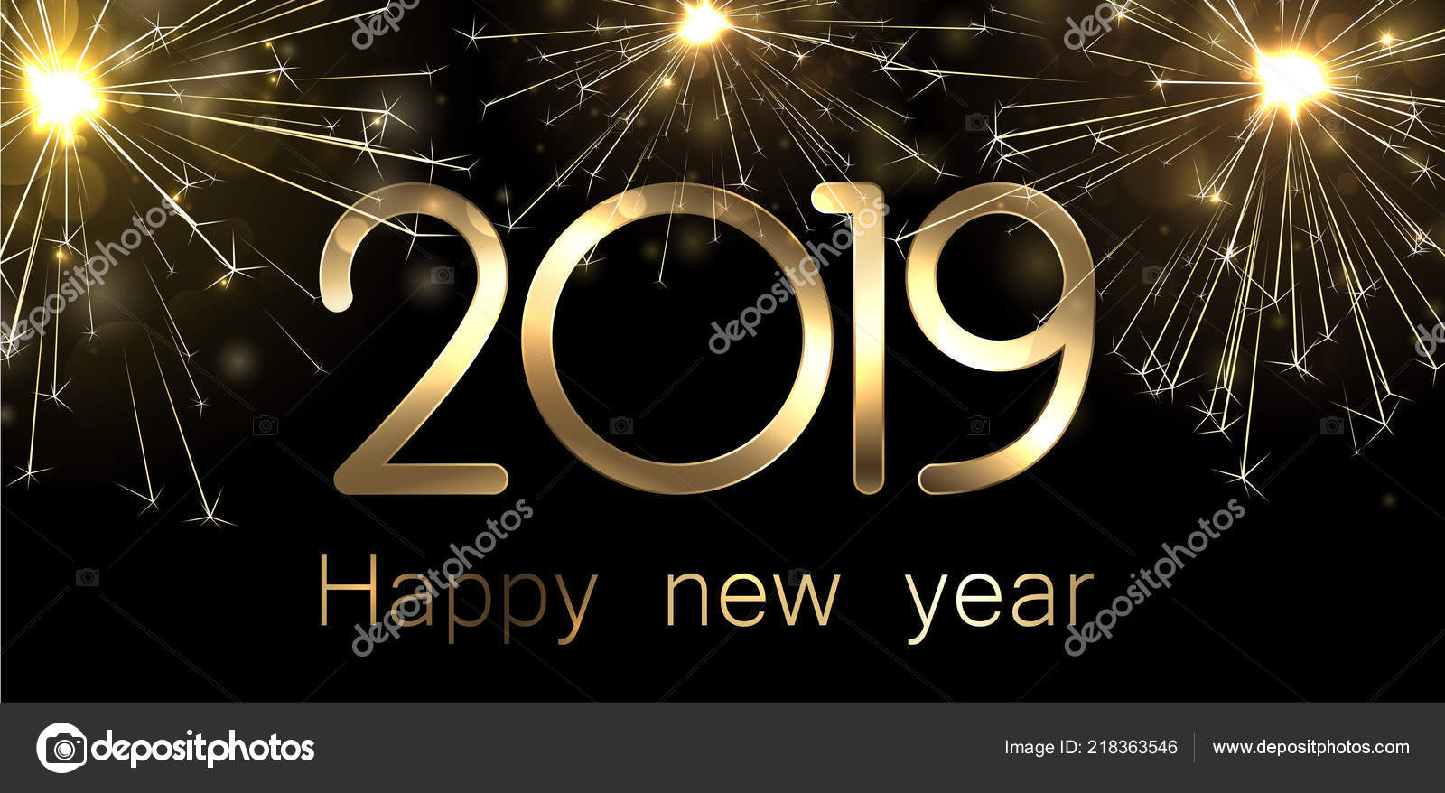 happy new year 2019 banner golden sparkling firework vector background stock vector