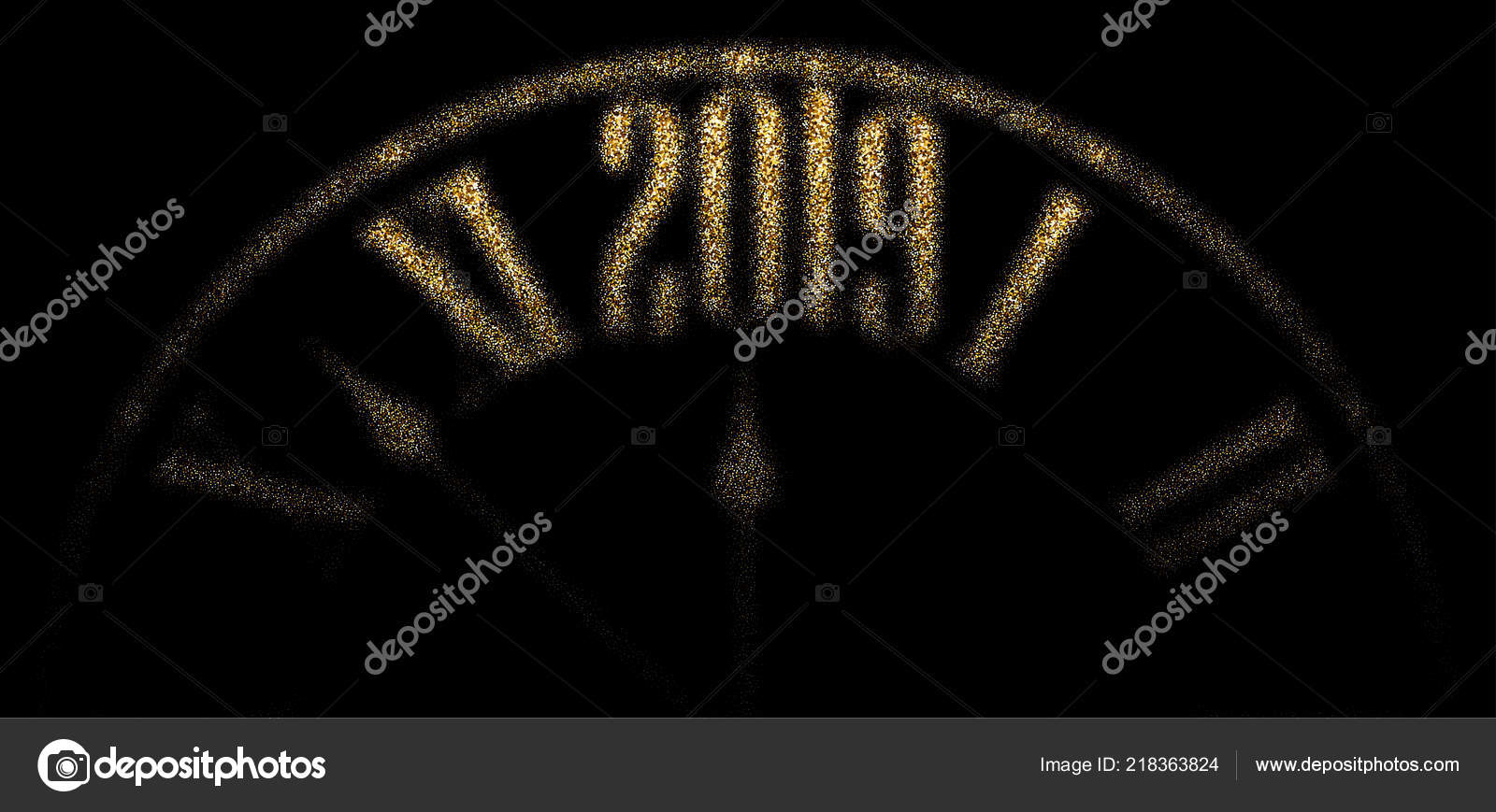black 2019 new year banner golden blurred clock vector background stock vector