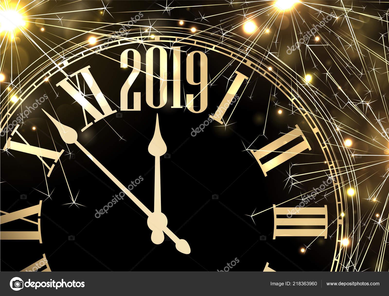 black new year 2019 card golden clock sparkle firework vector stock vector