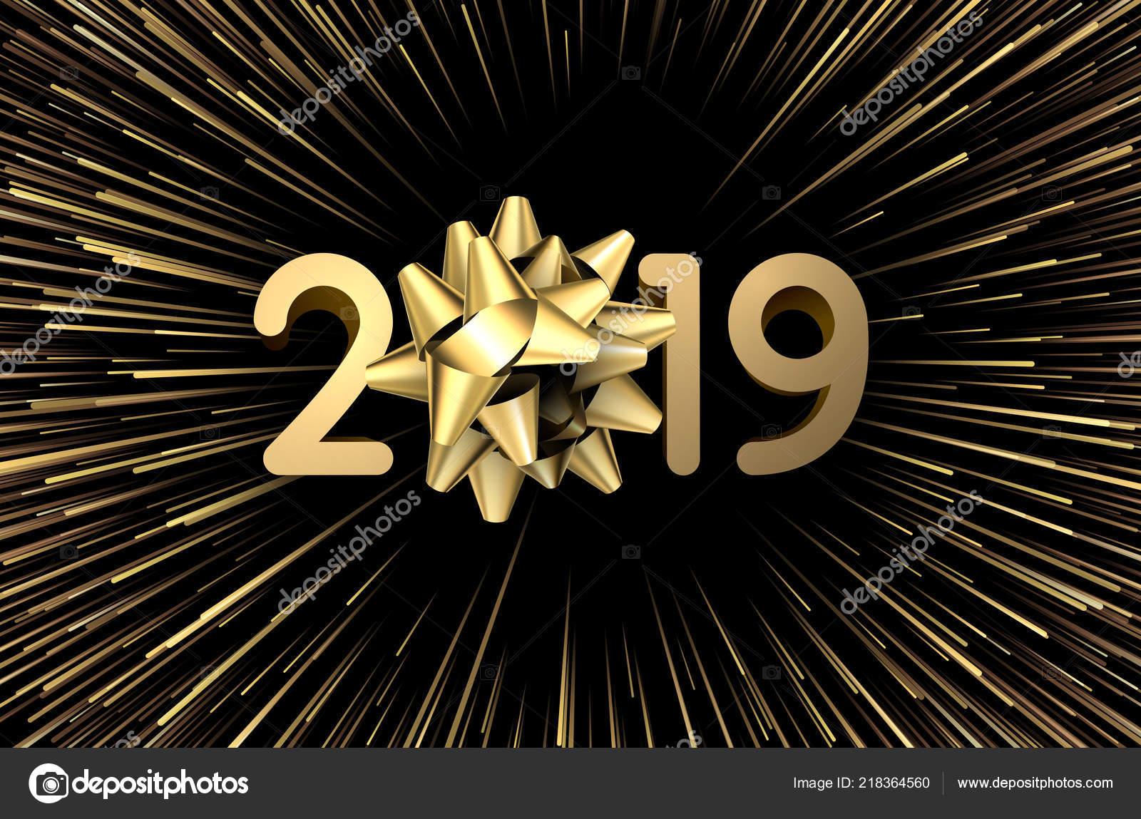 Tarjeta Festiva Ano 2019 Con Arco Dorado Fuegos Artificiales Fondo