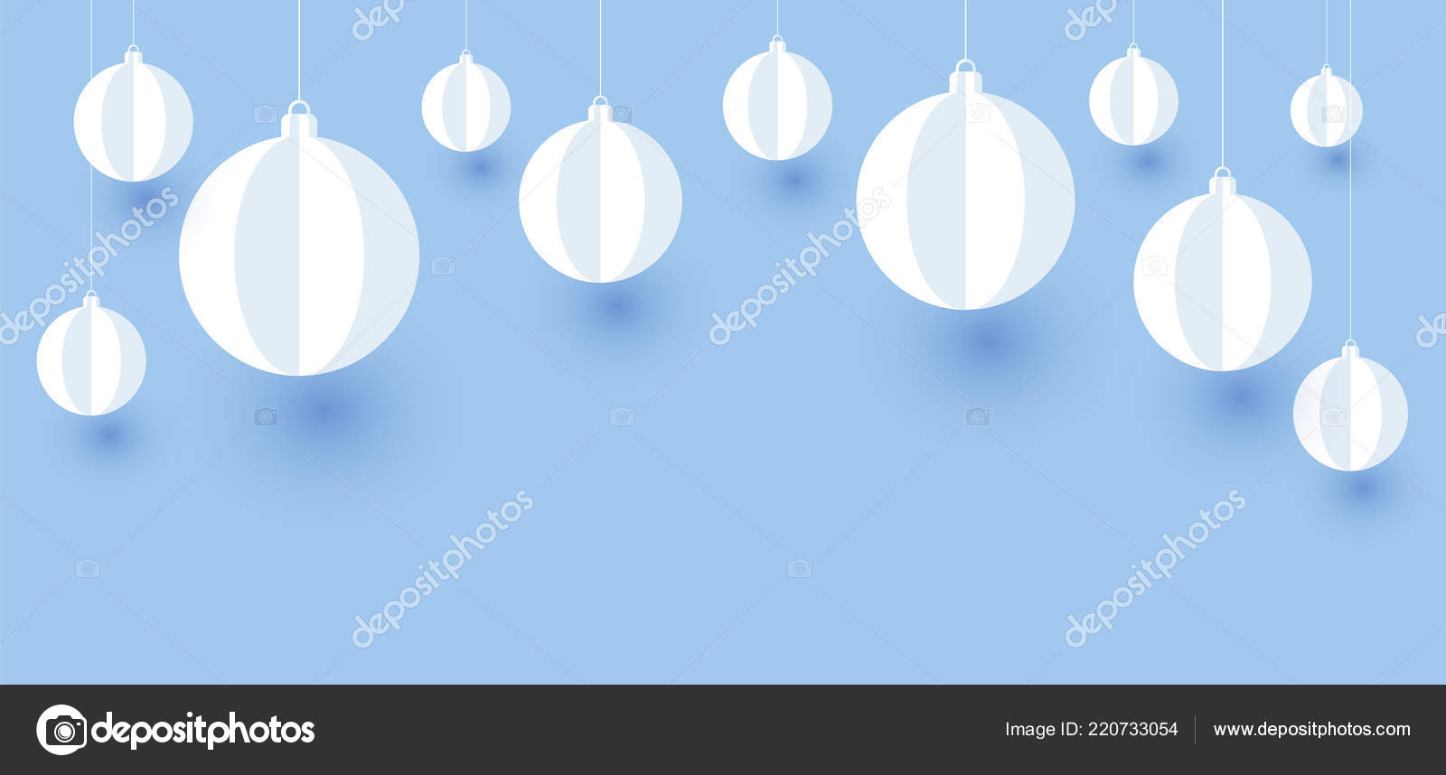 blue christmas new year banner white paper decorative christmas balls stock vector
