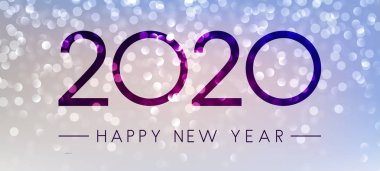 Lilac shiny Happy New Year 2020 banner. Bokeh effect. Vector background.