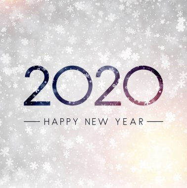 Grey shiny Happy New Year 2020 card with snowflakes. Vector background