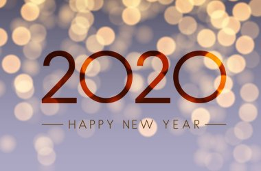 Shiny Happy New Year 2020 card with bokeh backdrop. Vector background