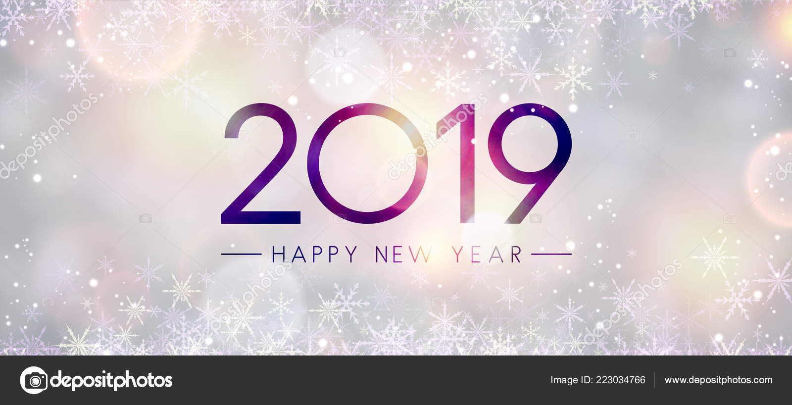 blurred shiny happy new year 2019 banner snowflakes bokeh backdrop stock vector