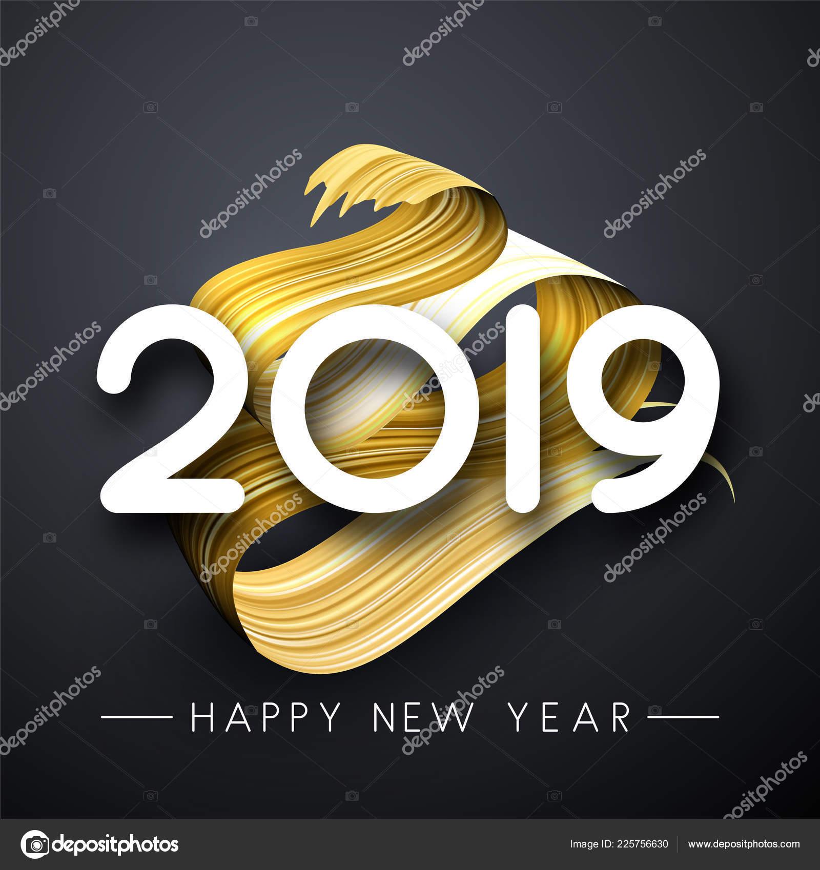 Happy New Year 2019 Greeting Card Golden Brush Stroke Design — Stock ...