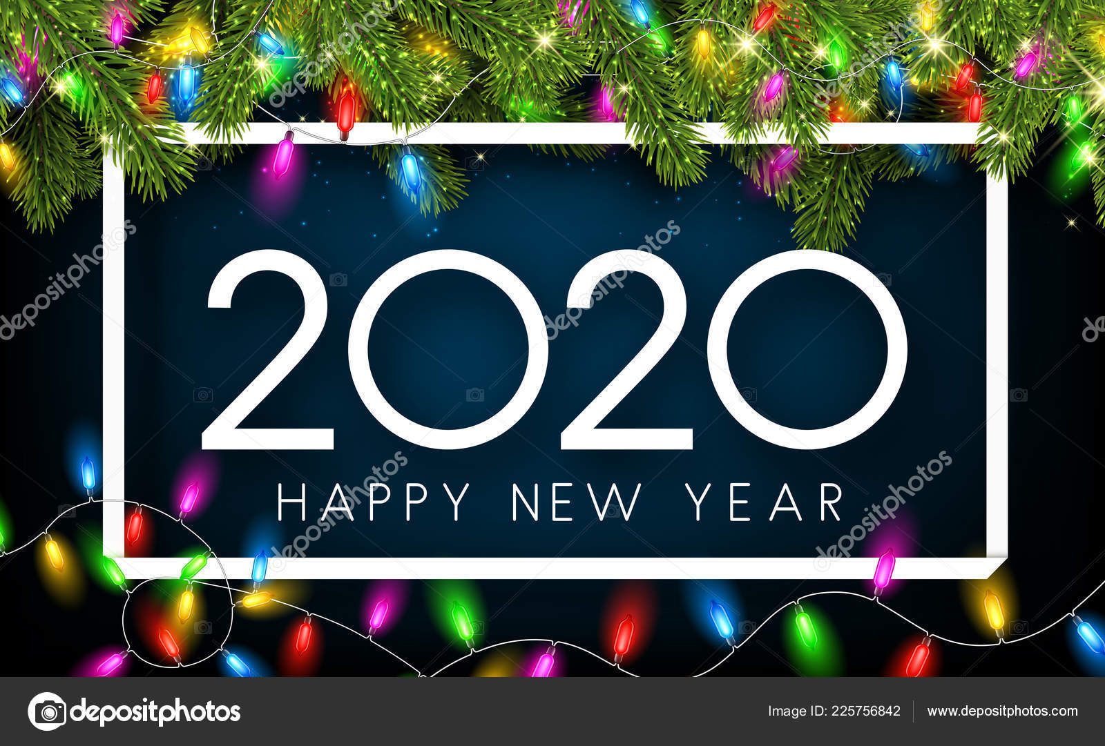 2020 happy new year photo frame