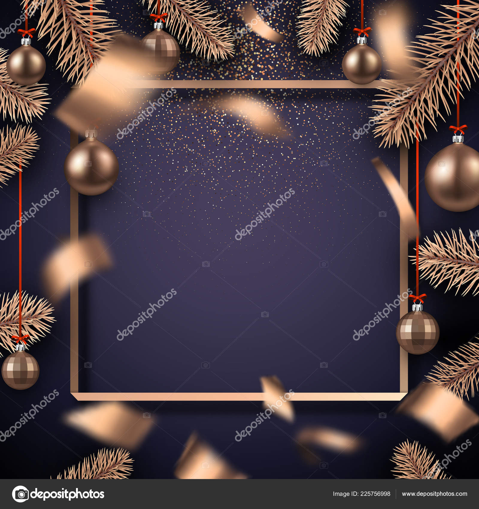 christmas and new year shiny card template with square frame fir branches bronze colored christmas balls and blurred confetti vector by maxborovkov