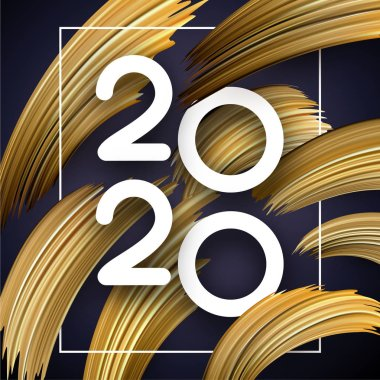 New Year 2020 greeting card with abstract golden brush strokes