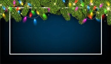 Blue Christmas and New Year shiny poster with white frame, fir branches and colorful decorative lanterns