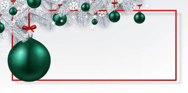 White Merry Christmas and Happy New Year banner with frame, fir branches, snow and green Christmas balls
