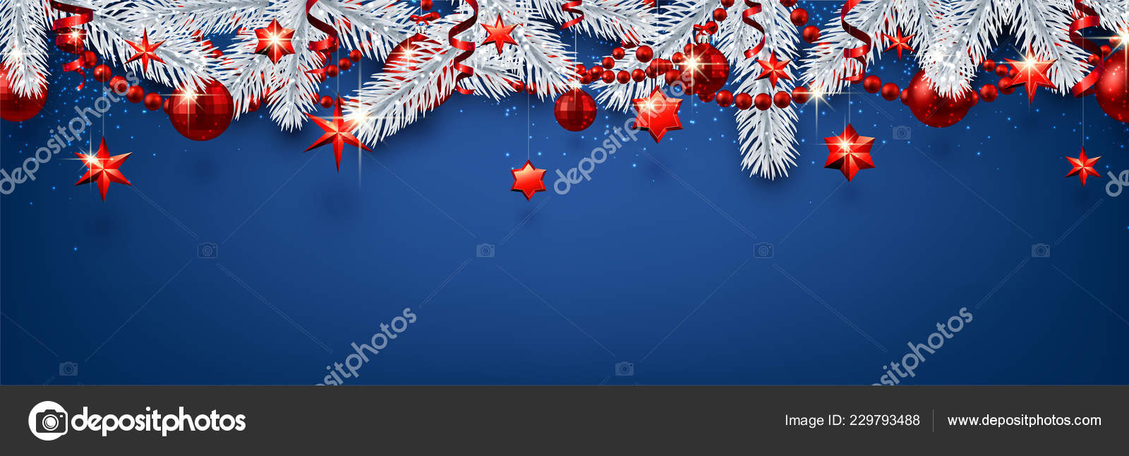 blue christmas and new year banner with silver fir branches and red shiny christmas decorations vector illustration vector by maxborovkov