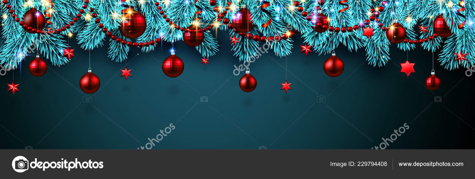 blue christmas and new year banner with fir branches and red shiny christmas balls and stars festive design vector illustration vector by maxborovkov
