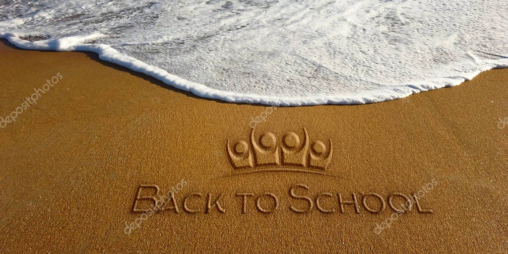 Back to School on the Sand Beach. Photo image