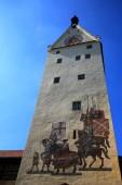 Ulmer Tor Memmingen ist eine Stadt mit vielen historischen Sehenswürdigkeiten in Bayern/Deutschland