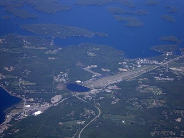 Aerial of Emerson Aviation, Governors Island, and Lake Winnipesa