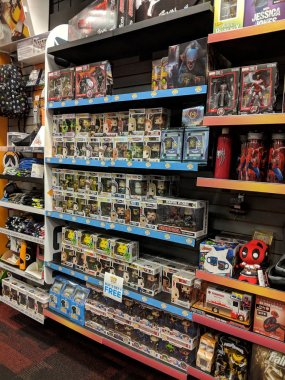 Funko Pop! Figures on display and other video game merchandise a