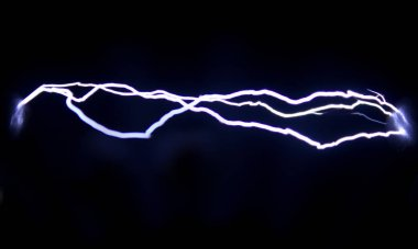 Three of spark electric discharges obtained with the help of an