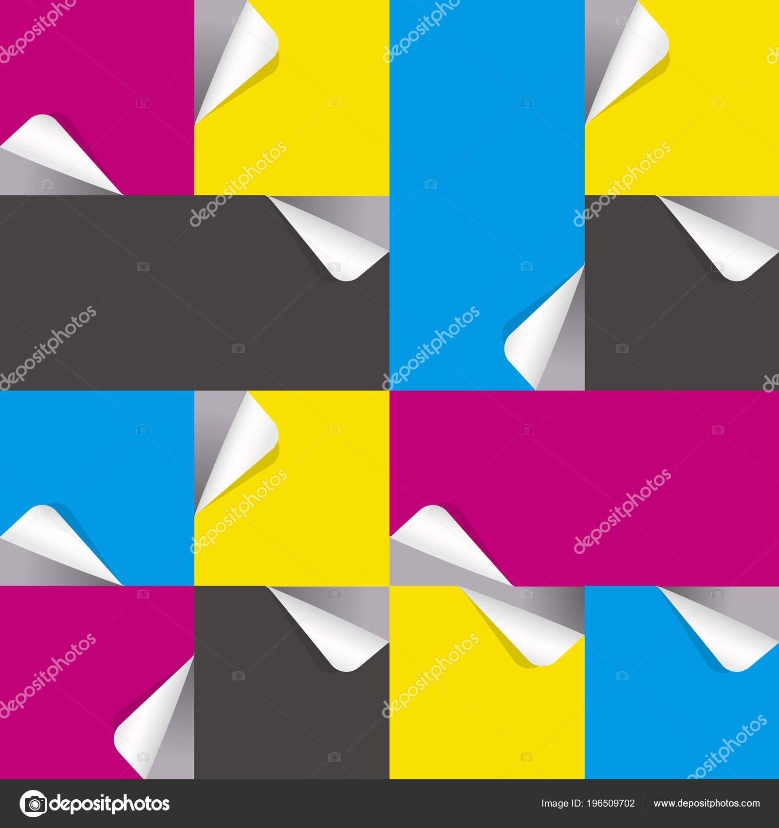 Etiquetas Engomadas Papel Con Los Colores Impresión Ilustración ...