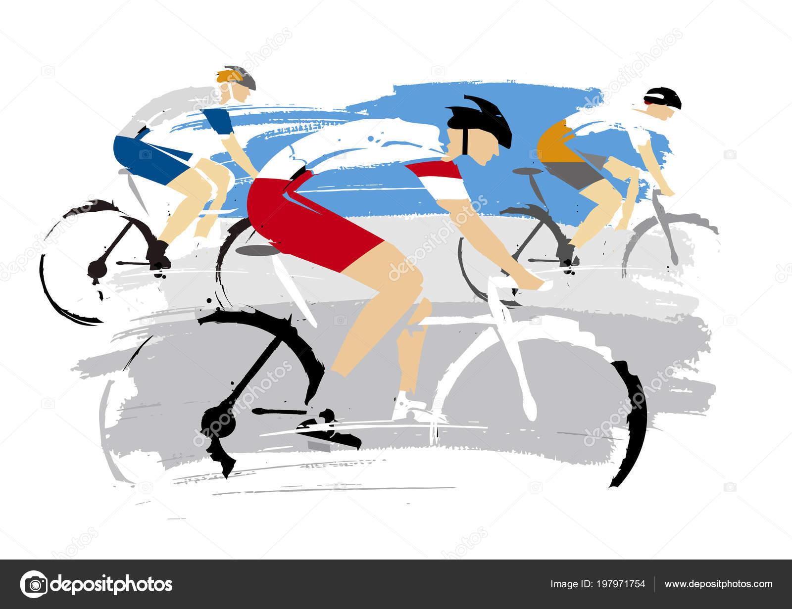 Vélo Route Course Grunge Stylisé Illustration Trois