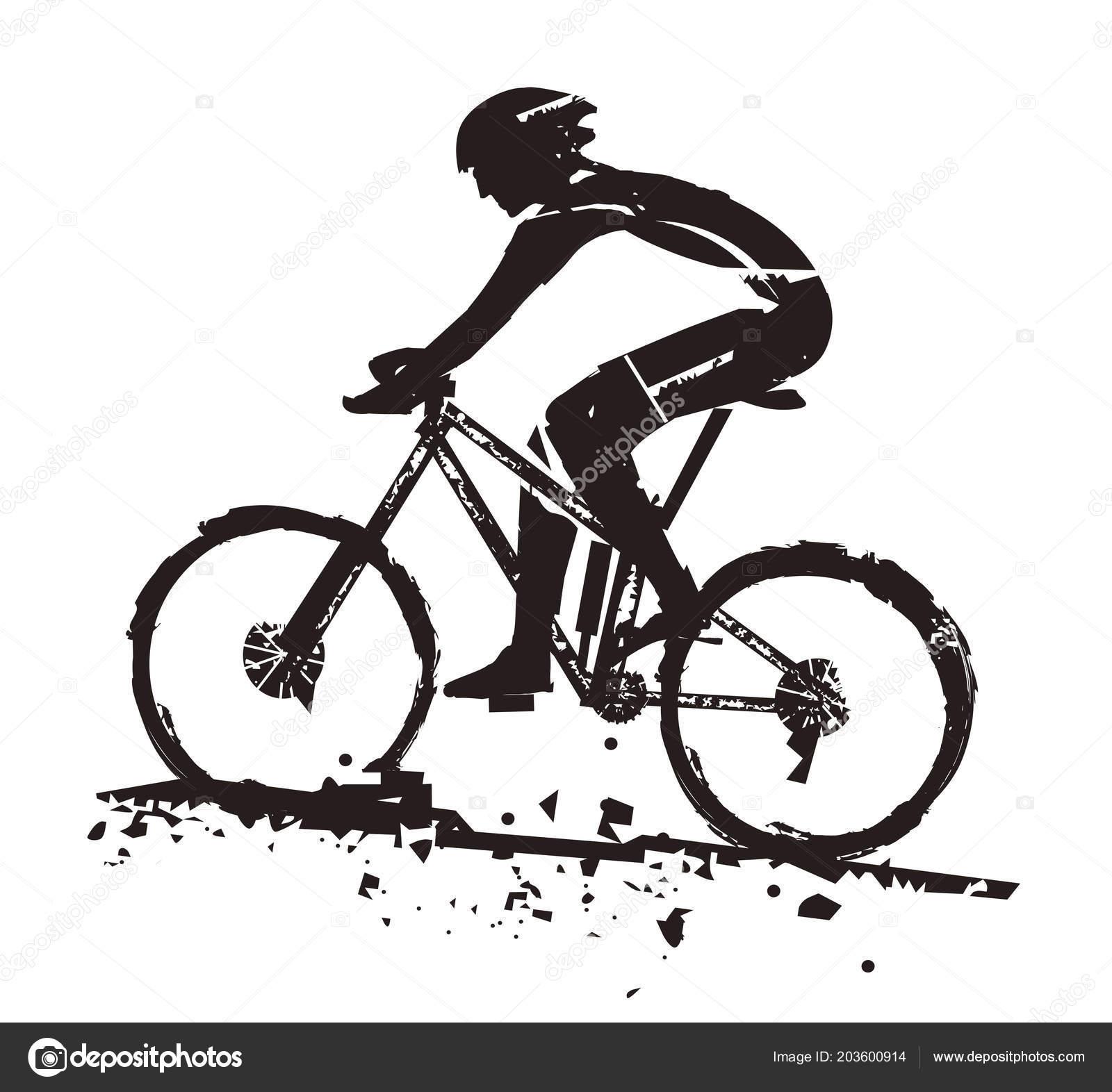 Mountain Bike Rider Grunge Stylized Illustration Mountain Bike Rider